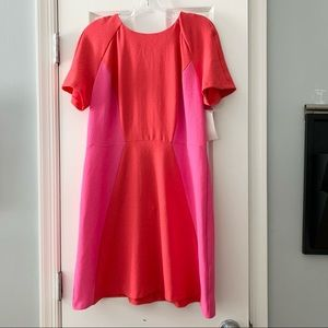 Topshop pink red color block short sleeve dress